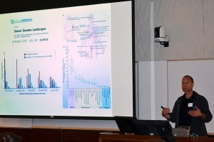 Dr. Nicholas Schork, professor at U.C. San Diego, giving a lecture during the third annual Pediatric Research Day event at the UConn Health Center. (Carolyn Pennington/UConn Health Center Photo)