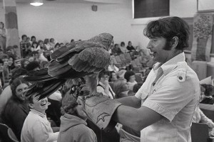 Falconer Bill Robinson at Children's Lit Class (Photo courtesy of Francelia Butler Papers, University Archives & Special Collections)