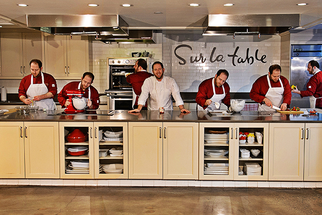 Joel Gamoran '07 (CLAS) resident chef at Sur La Table in Manhattan on Dec. 19, 2012. (Peter Morenus/UConn Photo)