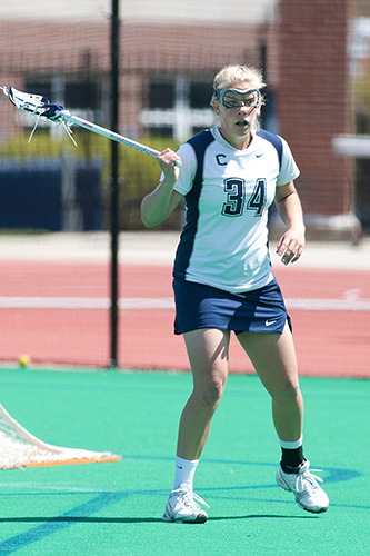 Defender Siobhan Wilcox '13 (NUR) is one of the captains of the lacrosse team. (Steve Slade '89 (SFA) for UConn)