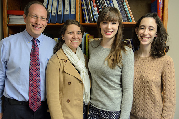 Mentor Jeff Ment '89, Emily Block '15 (CLAS), Celia Guillard '14 (CLAS), and Julianne Norton '15 (CLAS) of the Leadership Legacy program on March 29, 2013. (Ariel Dowski '14 (CLAS)/UConn Photo)