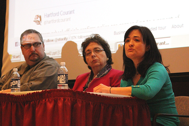 Marie Shanahan, right, assistant professor of journalism whose research examines how news organizations use social media. She said that one of the most egregious media errors during the tragedy was when the shooter's brother's name became public. Middle: Maureen Croteau, Journalism Department head; far left: Newtown Bee Associate Editor John Voket. (Christine Buckley/UConn Photo)