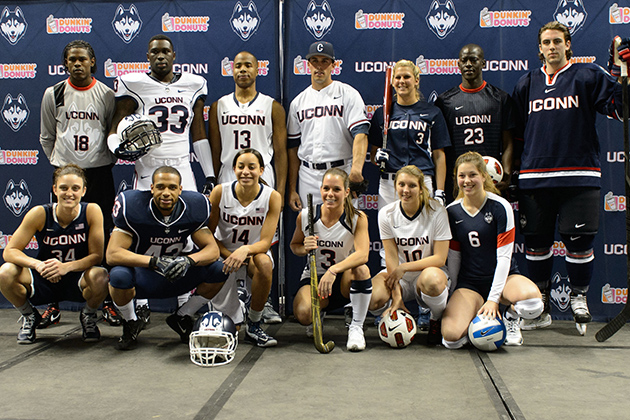New athletic uniforms are unveiled during a ceremony held at Gampel Pavilion on April 18, 2013. (Peter Morenus/UConn Photo)