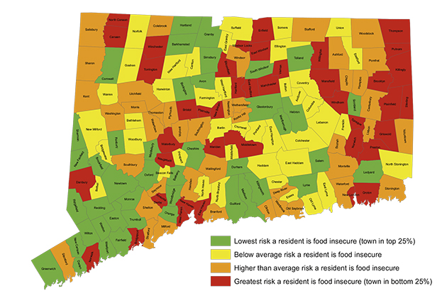 A town-by-town representation of the risk that a resident is food insecure.