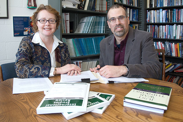 Mark Boyer, right, professor of political science, with colleague Jennifer Sterling-Folker. (File photo)