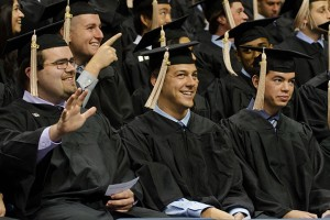 A group of students at the School of Business Commencement ceremony held at Gampel Pavilion on May 12, 2013. (Ariel Dowski '14 (CLAS)/UConn Photo)