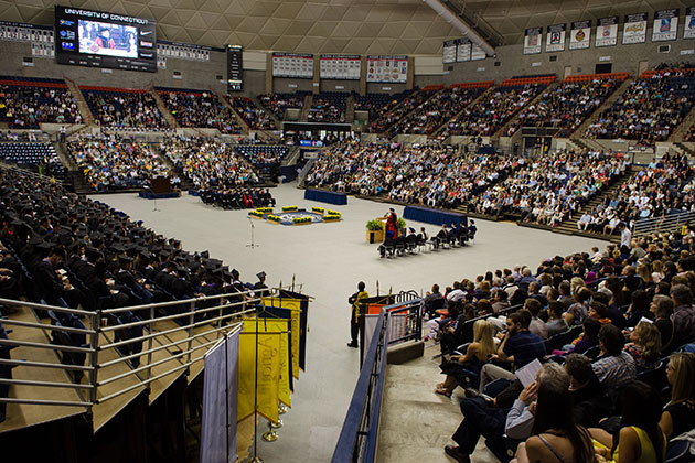 A view of the School of Business Commencement ceremony held at Gampel Pavilion on May 12, 2013. (Ariel Dowski '14 (CLAS)/UConn Photo)