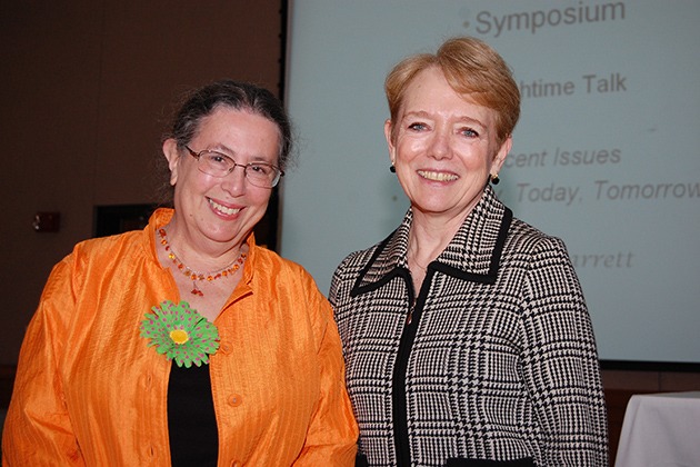Marsha Hilsenrad, chair of the Connecticut Art Docent Network Symposium, left, with Frances Garrett, keynote speaker from the New York University Museum Studies Program. (Ken Best/UConn Photo)
