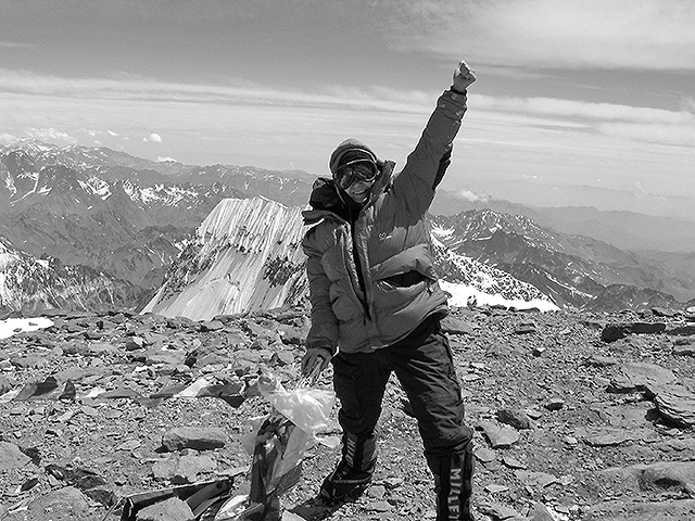 Battling winds more than 70 miles per hour to summit Aconcagua on January 21, 2007.