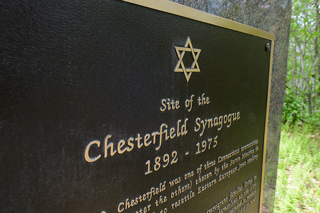 A monument marks the location of the former Chesterfield Synagogue. (Peter Morenus/UConn Photo)