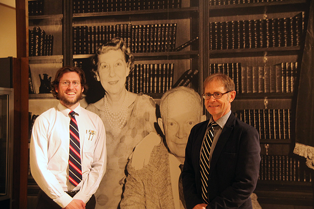 UConn alum Michael Wininger '03 (CLAS) (left) and Tom Rives, deputy director of the Eisenhower Presidential Library and Museum. (Photo courtesy of the Eisenhower Presidential Library and Museum)