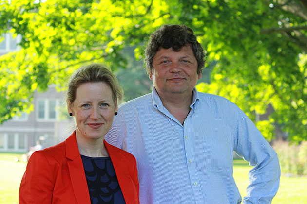 Prominent Chechnya human rights activist Stanislav Dmitrievsky, right, spent time recently in Storrs, working with the director of the UConn Human Rights Institute Emma Gilligan on a memory project for victims of war crimes. (Christine Buckley/UConn Photo)