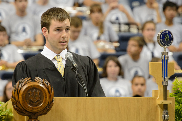 Edward Courchaine '14 (CLAS), president of undergraduate student government shared some words of wisdom. (Peter Morenus/UConn Photo)