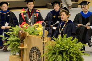 President Susan Herbst spoke to an attentive audience of students, parents, faculty, and staff at Convocation welcoming the class of 2017. (Peter Morenus/UConn Photo)