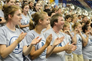 The UConn Marching Band hit all the right notes at Convocation and made sure that the crowd was fired up for the start of the semester. (ArielDowski '14 (CLAS)/UConn Photo)