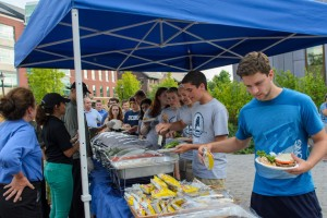 The Husky WOW Barbecue on Fairfield Way had something for everyone ... including gluten free and vegetarian selections. (Ariel Dowski'14 (CLAS)/UConn Photo)