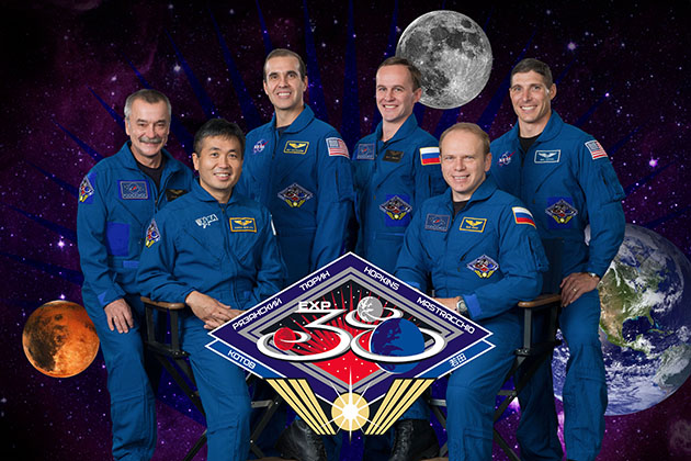 Official portrait for Expedition 38. Crew members, from left, Mikhail Tyurin, Koichi Wakata, Richard Mastracchio, Sergey Ryazanskiy, Oleg Kotov, Mike Hopkins. (Photo/Robert Markowitz)