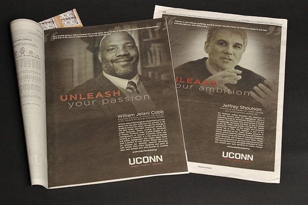 Ads in the Chronicle of Higher Education draw attention to UConn's faculty hiring initiative and some of the senior new faculty who have already joined the University.