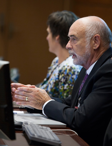 David Benson, professor of molecular and cell biology, at the Biological Weapons Convention Meeting of Experts in Geneva in August. At the meeting, he and colleagues presented a