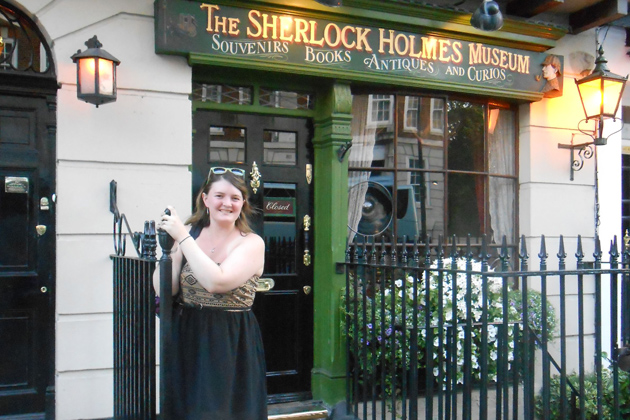 Alexandria Bottelsen at the Sherlock Holmes Museum on Baker Street in London. (Photo courtesy of Alexandria Bottelsen)