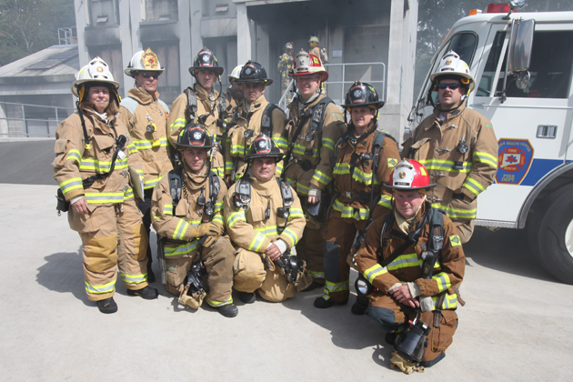 University of Connecticut firefighters from the Health Center and Storrs recently took part in a live burn training exercise at the Connecticut Fire Academy in Windsor Locks. (Michael Fiedler for UConn Health Center)