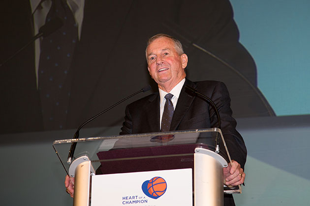 Hall of Fame Coach Jim Calhoun addresses the hundreds of well-wishers who gathered in Gampel Pavilion Sunday evening to celebrate his 26-year career at UConn. (UConn Athletic Communications Photo)