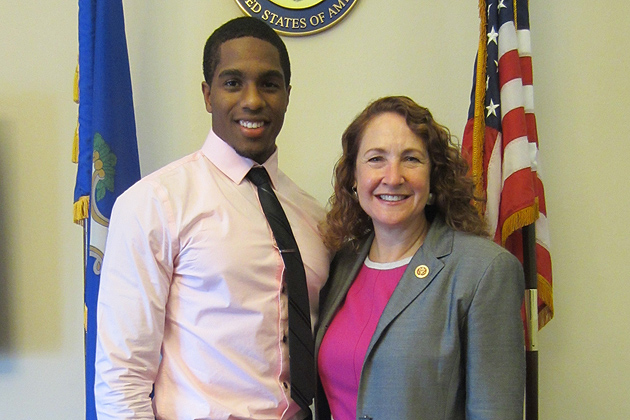 Byron Jones'15 (CLAS) with U.S. Representative Elizabeth Esty in Washington, D.C. during the summer of 2013 when he sered as an intern in Esty's office on Capital Hill.
