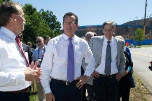 Governor Malloy tours the Health Center's several construction sites with  Dr. Frank M. Torti, Health Center executive vice president for health affairs and dean of the UConn School of Medicine