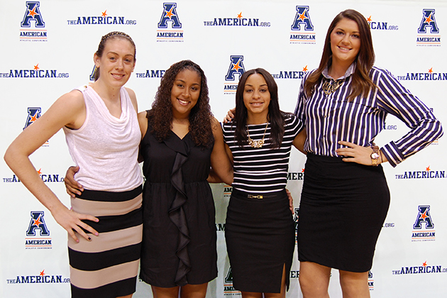 From left, Breanna Stewart '16 (CLAS), Kaleena Mosqueda-Lewis '15 (CLAS), Bria Hartley '14 (CLAS), and Stefanie Dolson '14 (CLAS), at Mohegan Sun Arena on Oct. 14. (Ken Best/UConn Photo)