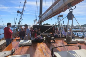 Students in a Maritime Studies class aboard the Mystic Whaler. (Nathaniel Trumbull/UConn Photo)