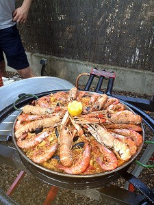 Paella at a party in honor of host Toni Planas.