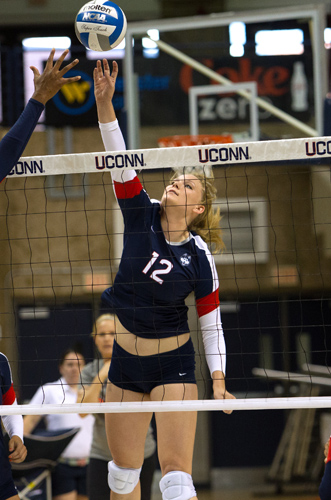 Last season, Wattles registered 102 kills for the Huskies. (Steve Slade '89 (SFA) for UConn)