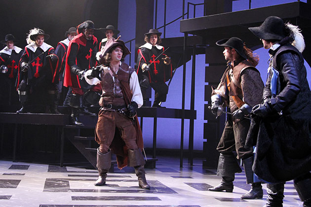 Jussac (Colby Lewis) leads the Cardinal's Guards against D'Artagnan (Will Haden) and the Musketeers (Anthony J. Goes) in The Three Musketeers at Connecticut Repertory Theatre from Nov. 21 through Dec. 8 in the Harriet S. Jorgensen Theatre. (Gerry Goodstein for UConn)