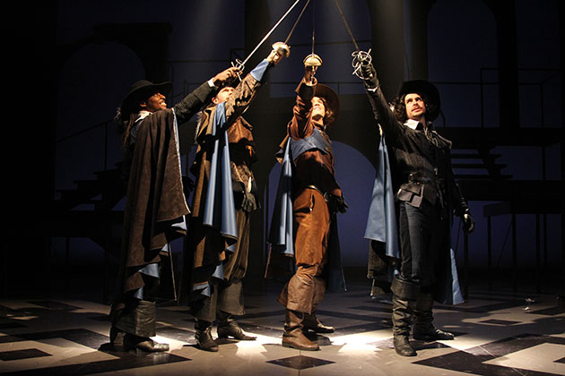 'All for One' From left, Thomas Brazzle (Athos), Anthony J. Goes (Porthos), Will Haden (D'Artagnan), and James Jelkin (Aramis) star in The Three Musketeers at Connecticut Repertory Theatre from Nov. 21 through Dec. 8 in the Harriet S. Jorgensen Theatre. (Gerry Goodstein for UConn)