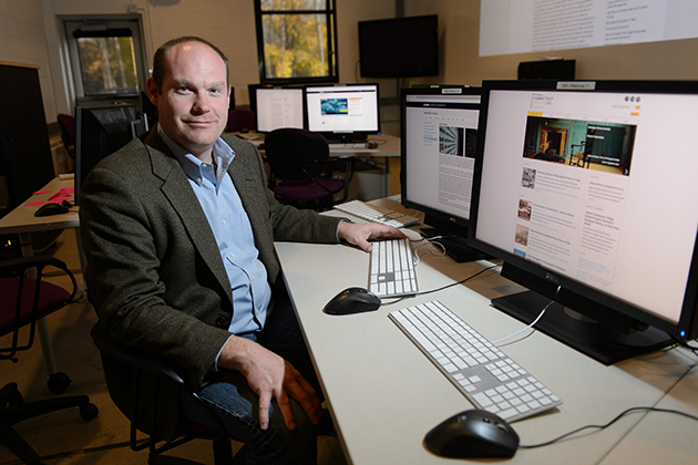 Tom Scheinfeldt, associate professor of digital media and design and director of digital humanities in the Digital Media Center, who will head the new Scholarly Communications Design Studio at UConn. (Peter Morenus/UConn File Photo)