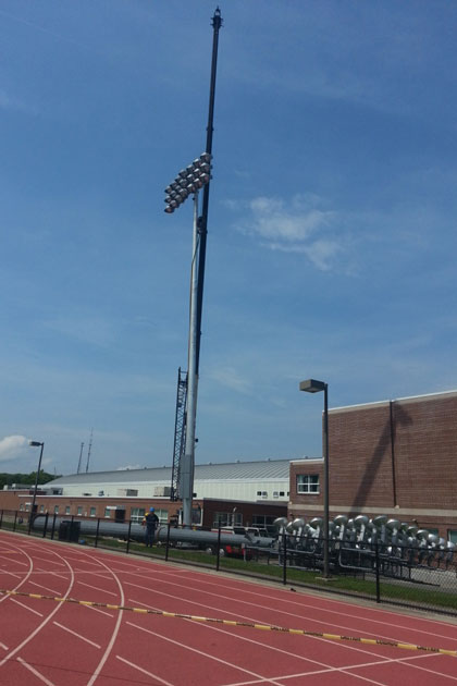 The new MUSCO lighting system in the Sherman Sports Complex.