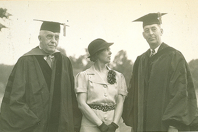 Gov. Cross, left, recommended Albert N. Jorgensen, right, to become the new president of Connecticut State College in 1935. They are seen here in June 1936 with Harriet Jorgensen after Albert's inauguration. (Photo courtesy of University of Connecticut Libraries, Archives & Special Collections)