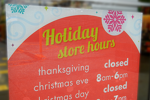 Thanksgiving holiday hours