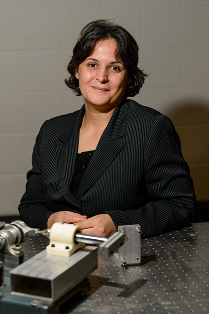 Leila Ladani, associate professor of mechanical engineering, joins UConn from the University of Alabama, where she worked with NASA's Flight Center in Huntsville. (Peter Morenus/UConn Photo)