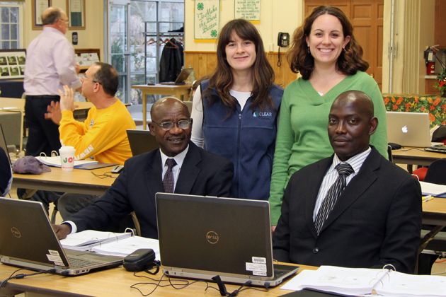 In the GIS classroom (l-r) Dominic Maikaje, Cary Chadwick, Emily Wilson, and Yahaya Umar. (CLEAR/UConn Photo)