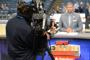 From the court, an ESPN cameraman records GameDay analyst Jalen Rose discussing the UConn-Louisville game. (Bret Eckhardt/UConn Photo)