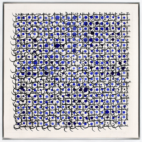 Grid 34, 2013, ink, acrylic on paper adhered to gessoed wood panel, by Hadieh Shafie (Iranian, b. 1969), courtesy of the artist and Leila Heller Gallery, NYC.