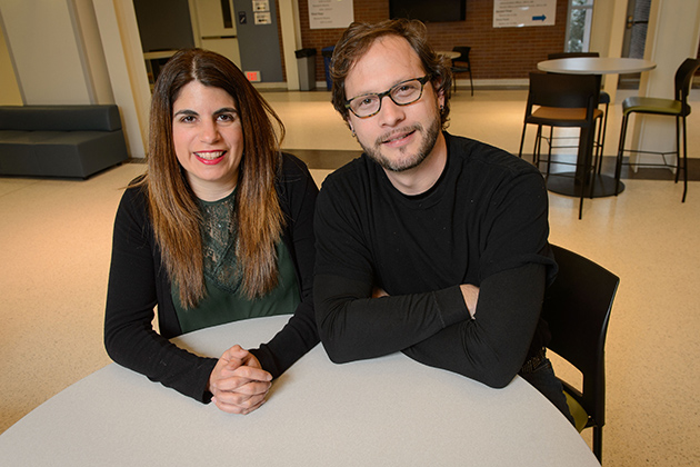 Nairán Ramírez-Esparza, assistant professor of psychology, left, and Adrián García-Sierra, assistant research professor of psychology and speech, language, and hearing sciences. (Peter Morenus/UConn Photo)