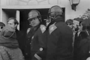 Police and students during a protest on the UConn campus in fall 1968. (Photo from Diary of a Student Revolution/National Educational Television)