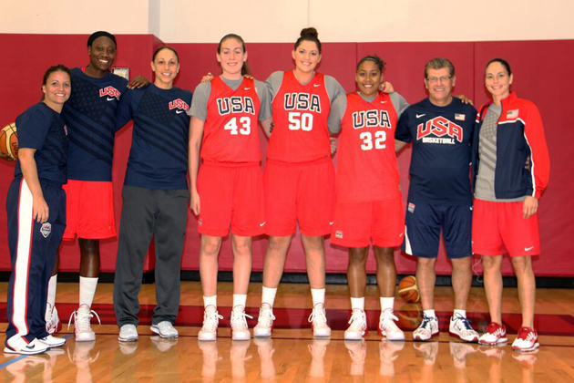 A reunion of Huskies last October when USA Basketball invited the nation's top women's players to Las Vegas to compete for consideration to join the USA National Team that hopes to qualify for the 2016 Olympic Games included six of the current and former Huskies who were named this week to the National Team pool. From left, 2011 U19 USA head coach Jennifer Rizzotti, Tina Charles, Diana Taurasi, Breanna Stewart, Stefanie Dolson, Kaleena Mosqueda-Lewis, USA Women's Basketball head coach Geno Auriemma, and Sue Bird. (Photo by Andrew Bernstein/USA Basketball for UConn)
