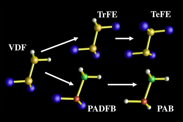 Various molecular units used in the design and assembly of new polymeric materials. S. M. Nakhmanson, M. Buongiorno Nardelli and J. Bernholc, Phys. Rev. Lett. 92, 115504 (2004), copyright (2004) by The American Physical Society, with permission from the author.