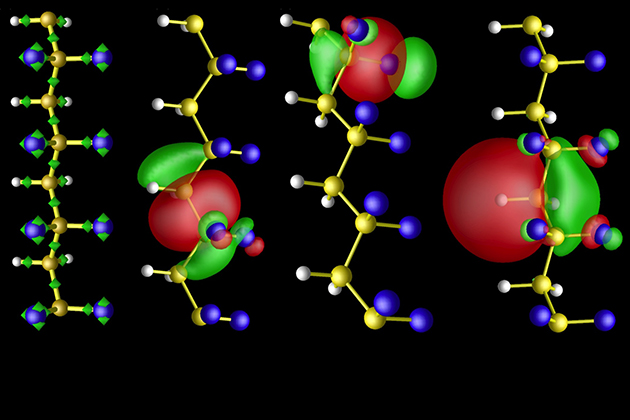 Chemical bonding in polymer chains that are used to design novel polymeric materials with advanced properties. Figure from S. M. Nakhmanson, M. Buongiorno Nardelli, and J. Bernholc, Phys. Rev. B 72, 115210 (2005), copyright (2005) by The American Physical Society, with permission from the author.