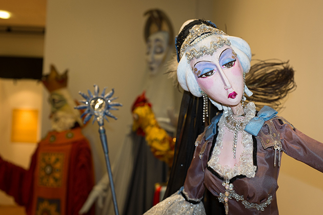 An exhibit of Frank Ballard's rod puppets at the Ballard Institute and Museum of Puppetry at Storrs Center on Feb. 27, 2014. (Peter Morenus/UConn Photo)