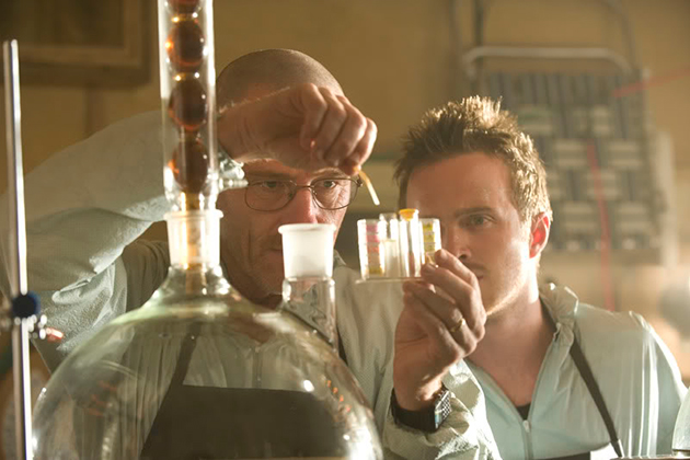 The down-on-his-luck chemistry teacher Walter White, left, from the blockbuster TV series Breaking Bad, in his 'lab.' (Source: photobucket.com)