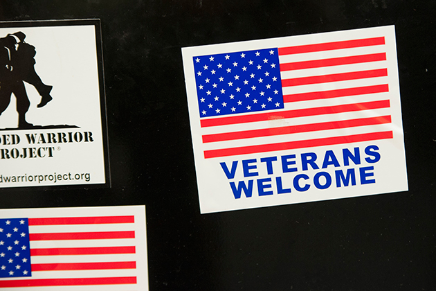 Stickers on a refrigerator at the Veterans Oasis in the Student Union. (Sean Flynn/UConn Photo)